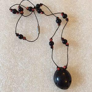 Vintage black coral lady bog necklace